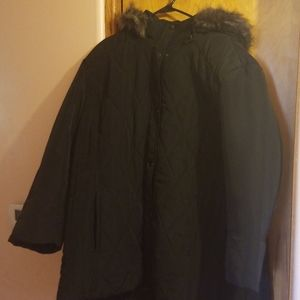 Warm winter jacket black with fur